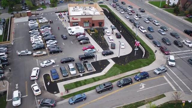 Take a peek at the Chick-fil-A drive-thru traffic without having to wait in a timelapse of West Ridge Road from our drone.