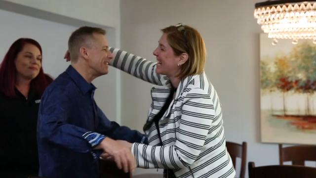 Maria Thomas Fisher and Angella Luyk met on Facebook where Fisher noticed Luyk's posts about her husband, Harry Powell, needing a kidney. She decided to get tested and it was a match. Here, Fisher meets Powell for the first time on May 16, 2018.