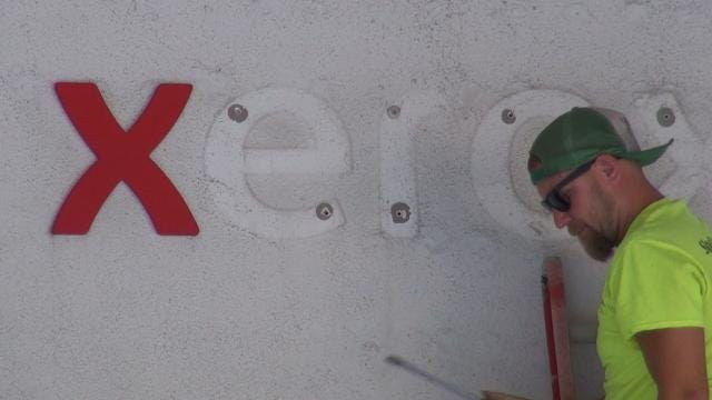 End of an era: Xerox signs come down