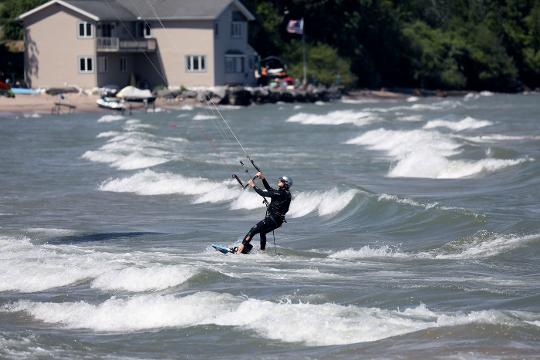 Friday's windy conditions made for some good kiteboarding on Lake Ontario.