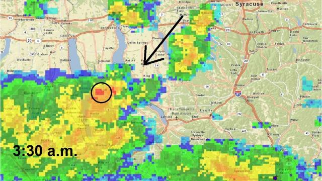 Radar imagery shows how southern Seneca Lake was pummeled by storms for hours.