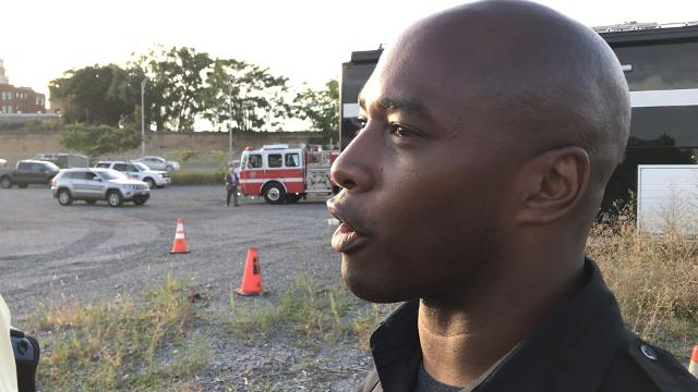 Firefighter Amon Hudson said crews were on scene within three minutes after receiving a call from a passerby for the report of a body in the water. (Sept. 6, 2018)