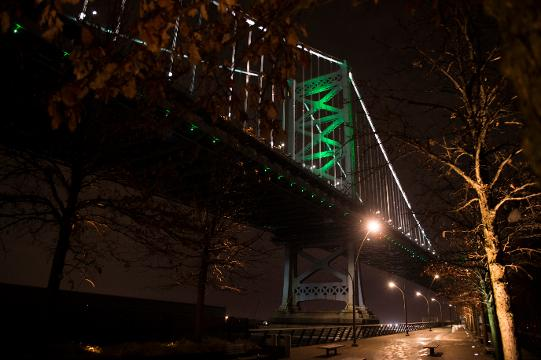 The Ben Franklin Bridge is lit green in support of the Philadelphia Eagles Thursday, Jan. 11, 2018 ahead of their Saturday afternoon playoff tilt against the Atlanta Falcons in Philadelphia.