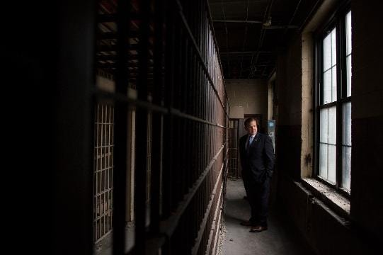 Freeholder Bill Moen discusses an old jail housed on the sixth floor City Hall Friday, Jan. 12, 2018 in Camden, N.J. The jail has been out of commission since 1988 and is currently being demolished.