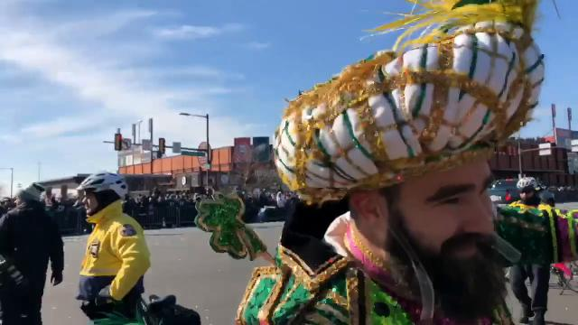Without a doubt, Jason Kelce was the highlight of the Eagles Super Bowl parade on Thursday. Watch as he takes a Philadelphia police officer's patrol bike for a quick spin.