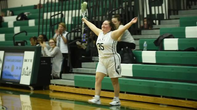 Kate Spadaro, a senior at Camden Catholic with Down syndrome takes the court Thursday, Feb. 15, 2018 in Cherry Hill, N.J.