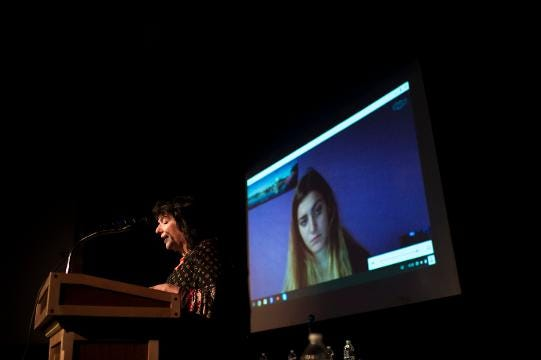 Parkland shooting survivor Carly Novell tunes in via Skype to address gun violence Tuesday, May 29, 2018 at Haddon Heights High School.