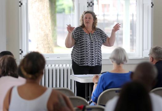 Terry Fleischman, the home ownership director with the Westchester Housing Council, talks about the informational workshop for the Antioch Homes Apartments in Bedford Hills, Aug, 12, 2017.