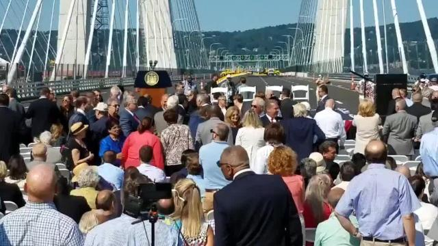The new Tappan Zee Bridge opens to traffic this weekend, so a ceremony was held Thursday to mark the occasion.