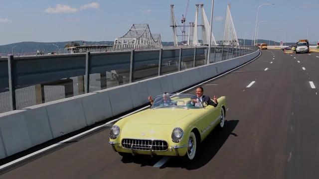 "Pearl Harbor survivor Armando ""Chick"" Galella gets a ride from Gov. Andrew Cuomo, in a yellow 1955 Corvette, after a ceremony to open the Gov. Mario M. Cuomo Bridge Thursday, Aug. 24, 2017."