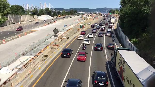 Four hours after the newly minted Gov. Mario M. Cuomo Bridge opened to drivers, traffic is slow. Mark Vergari/The Journal News