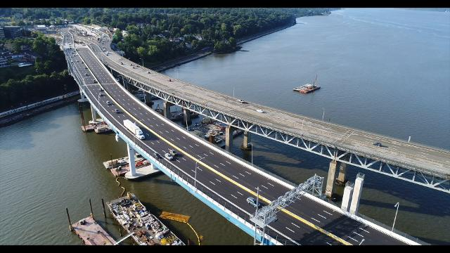 Drone video: Above Gov. Mario M. Cuomo Bridge on its first day