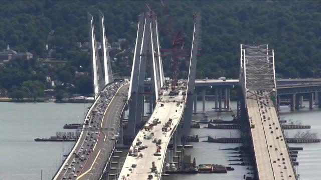Westbound traffic is moved from the Tappan Zee Bridge onto the new Gov. Mario M. Cuomo Bridge at the 41 sec mark in this time lapse video Saturday, August 26, 2017.