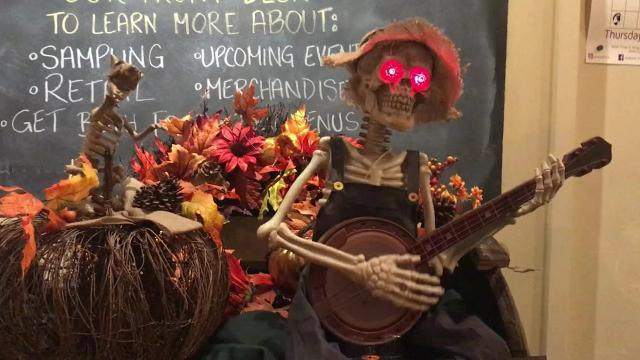 The brew hall in Elmsford was a swirling scene of costumed revelers, Halloween-themed eats, pumpkin ales and creepy decor.