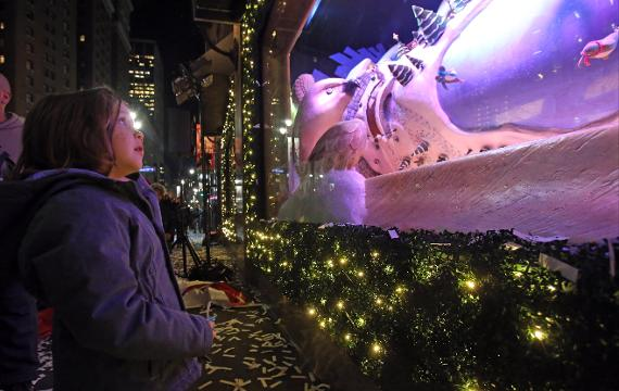 "Macy's Herald Square unveils their holiday window displayed called ""The Perfect Gift Brings People Together"" in Manhattan Nov. 16, 2017."
