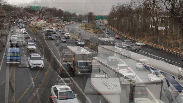 Crashes in each direction snarled Interstate 95 traffic near I-287, Monday, Dec. 18, 2017. (Video by Matt Spillane/lohud)