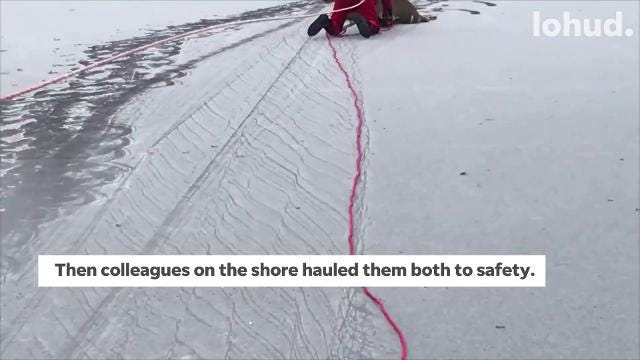 Video: Dramatic rescue of deer trapped on frozen lake