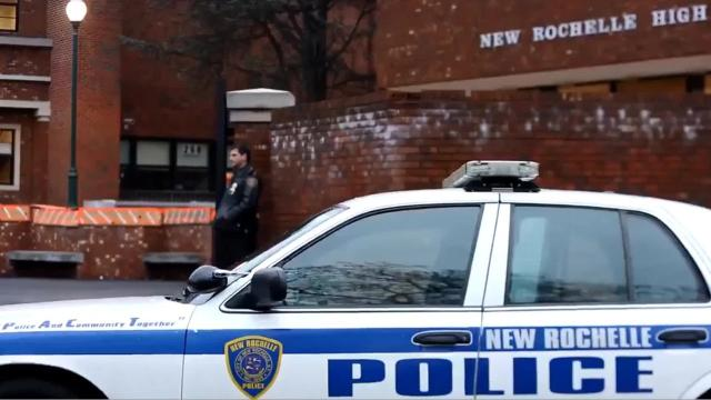 Video: Police on watch at New Rochelle High School