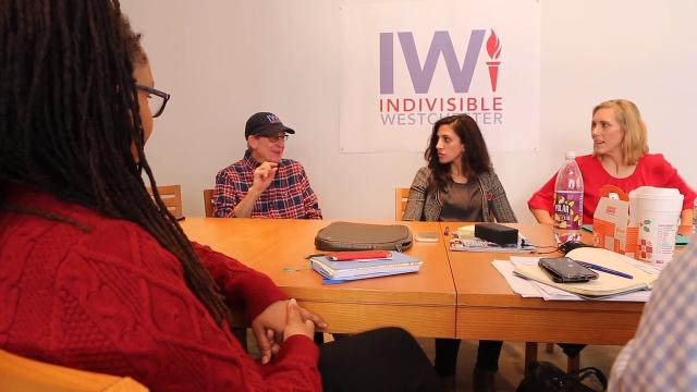 Members of the Indivisible Westchester steering committee talk about the movement Jan. 30, 2018 in Larchmont. The group of progressive activists began to take action after the Women's March in 2017.