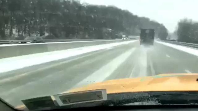 Video: Tractor-trailer jackknifes on I-87