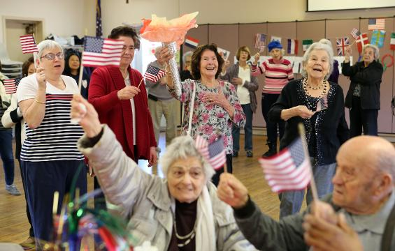 Winter Olympics celebration at the Town of Mamaroneck senior center Feb. 13, 2018 in Larchmont.