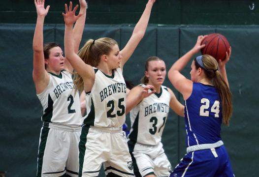 Brewster defeated Pearl River 43-41 in Section 1 girls basketball playoff action at Brewster High School Feb. 16, 2018. Frank Becerra Jr./Lohud