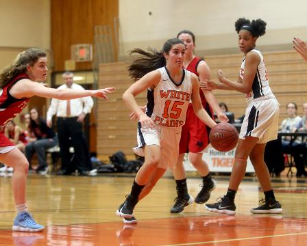 Highlights from White Plains' 54-33 win over Fox Lane in a Section 1 Class AA girls basketball game at White Plains High School Saturday.