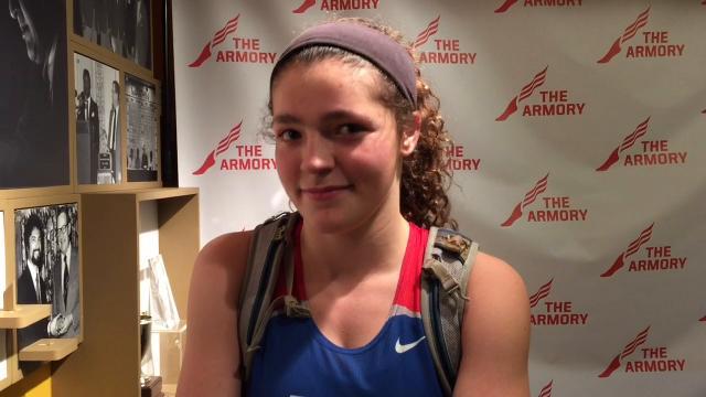 Caroline Douglass talks about long-jumping 17-5.75 to set a Carmel girls record.