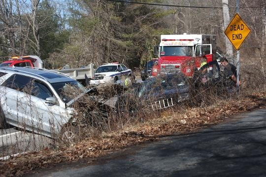 South Salem firefighters, Lewisboro and state police and Lewisboro VAC work at a 3-car accident that injured 2 and closed Route 35 in South Salem on Weds afternoon. Frank Becerra Jr./Lohud