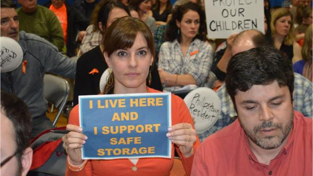 They filled Haldane High auditorium Feb. 22, 2018, to voice their opinions on the town's proposed safe firearms storage law.