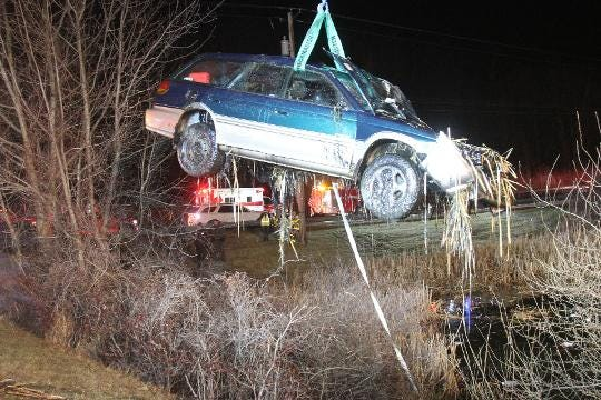 A car crashed into a small pond on Rt. 22 and Doansburg Rd in Southeast early Friday morning Feb. 23, 2018. The driver was able to exit the vehicle on his own and was transported to Danbury Hospital with minor injures. Frank Becerra Jr./Lohud