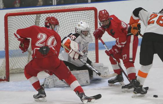 North Rockland defeated Mamaroneck 2-0 in Section 1 playoff hockey action at Hommocks Park Ice Rink in Mamaroneck Feb. 23, 2018. Frank Becerra Jr./Lohud