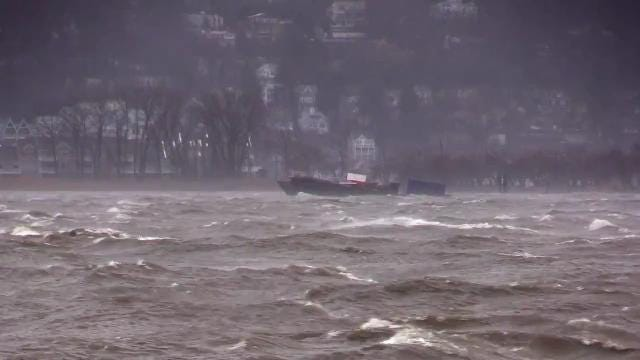 Several barges were spotted floating downriver in the Hudson, as seen from Irvington, south of the Gov. Mario Cuomo Bridge March 2, 2018.
