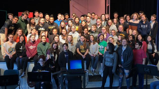"The cast of ""Bye Bye Birdie"" at Nanuet sends a musical shoutout to the cast of ""Children of Eden"" at Yorktown."