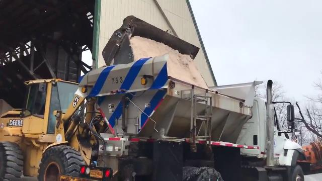 Video: Salt trucks fill up in Yonkers