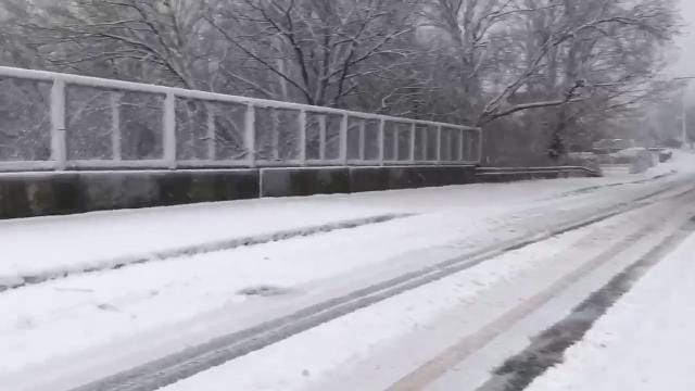 Video: Cross County drivers brave snow