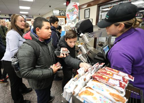 A food cart which will include free snacks and drinks for kids to take throughout the day, makes its debut at Port Chester Middle School.