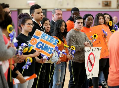 Students, faculty and staff along with city and school officials, participate in the National School Walkout at Lincoln High School in Yonkers, March 14, 2018. #YonkersStands