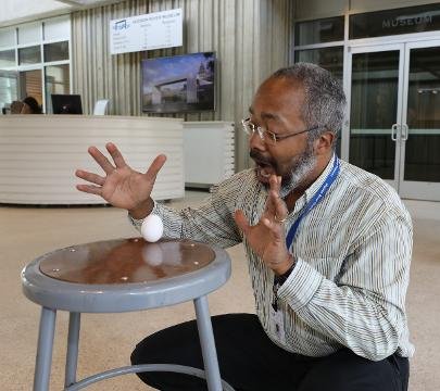 Marc Taylor, the manager of planetarium and science programs at the Hudson River Museum in Yonkers, shows that you can balance an egg March 16, 2018, even when it's not the equinox.