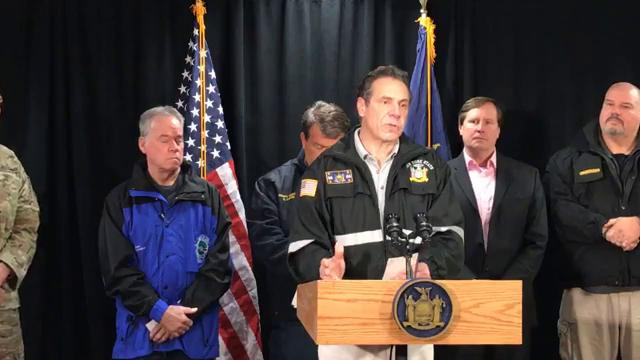 Gov. Andrew Cuomo and administration officials hold a Mid-Hudson Valley storm briefing at the NYS Thruway's New York Division office in Suffern