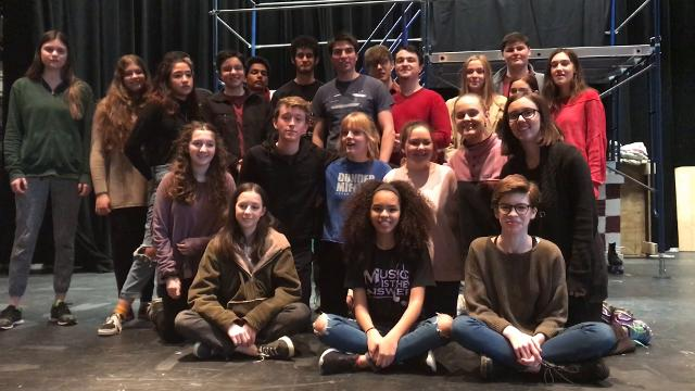 The cast of FOOTLOOSE at Croton-Harmon sends a shoutout to BULLETS OVER BROADWAY at Walter Panas.