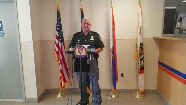 Westchester County Police Capt. Paul Stasaitis briefs members of the media on a June 18, 2018, accident, in which a wheel came loose from a car traveling on the Hutchinson River Parkway, hopped the median, and hit a car going the other direction.