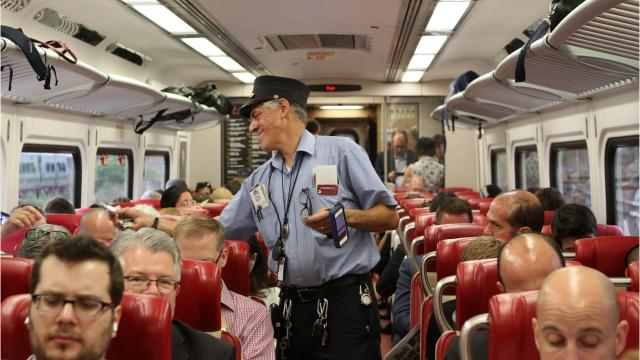 Among the talents Lawrence Diomede brings aboard commuter trains on the New Haven Line: his rap skills.