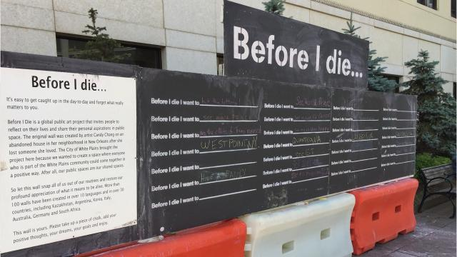 White Plains is hosting an interactive art exhibit in Renaissance Plaza, inviting passersby to write down something they want to do before they die.