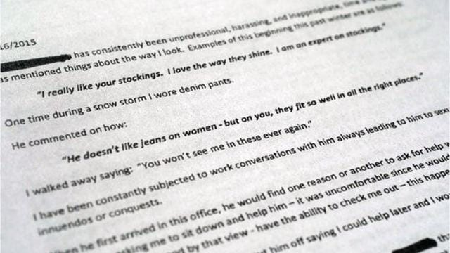 What the internal complaints of sexual harassment and discrimination look like within Westchester County.