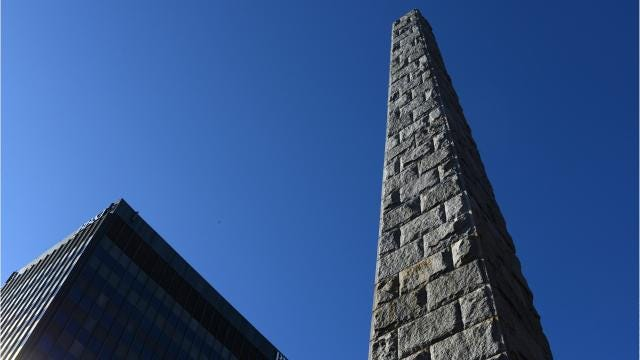 The granite obelisk standing in Pack Square was constructed in memory of Zebulon Baird Vance, a northern Buncombe County native and North Carolina governor, in 1896.