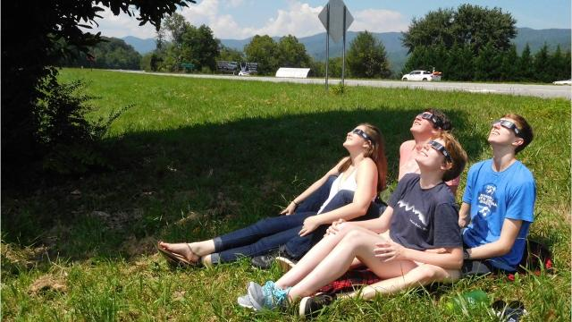Hundreds, if not thousands, of people gathered in Andrews, North Carolina, to watch the solar eclipse. The town was in the center of the zone of totality and mountains framed the sky in all directions.