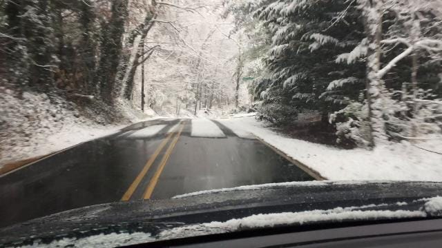 Driving through Haw Creek on a snowy Friday morning.