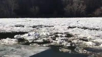 "Video creator Marc Hunt says: ""The situation is that thousands of pockets of ice form in the calm areas of the river along the shorelines, break free, and float down the long river and are stopped by the Craggy Dam in Woodfin near MSD."""
