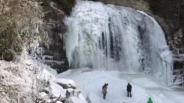 Looking Glass Falls and nearby Sliding Rock, both in Pisgah National Forest, froze up over the weekend of Jan. 6-7, 2018, with overnight temperatures in the single digits.